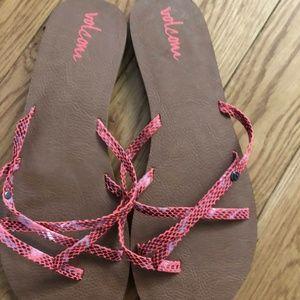 Volcom Neon Pink Snakeskin Flip Flops